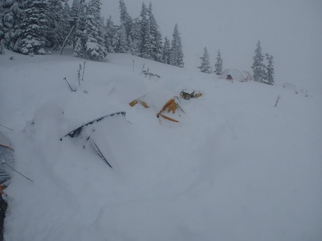 At low camp, our tents were continually being buried in snow.