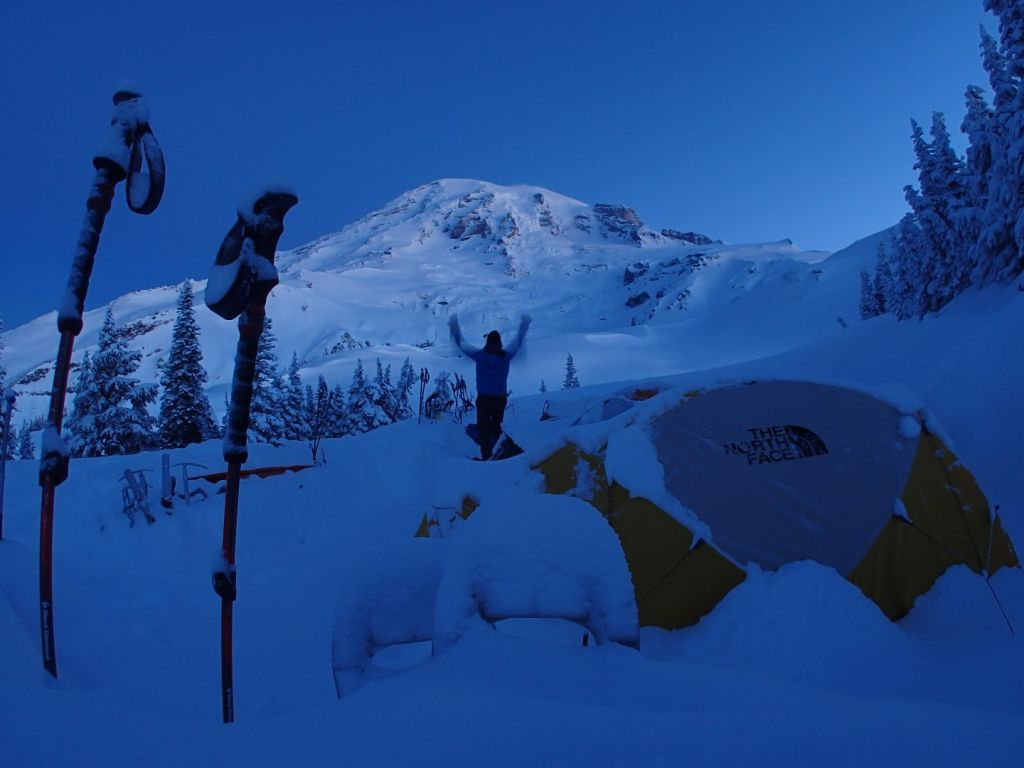 This was my tent mates first view of Rainier and I managed to catch his reaction