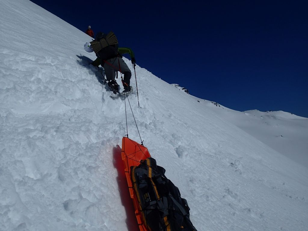 It is a very steep climb up to Camp Muir, and quite challenging even without a sled