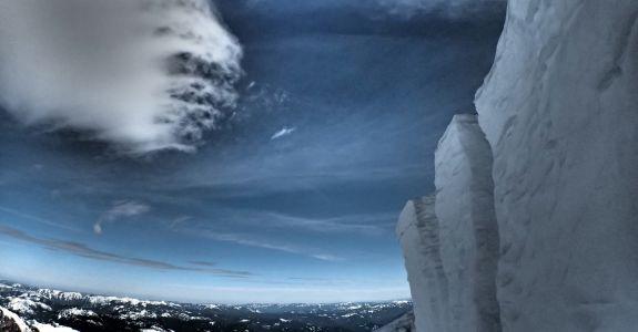 Jumping off Ingraham Glacier