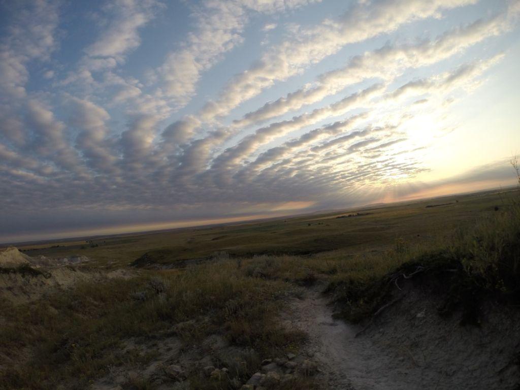 White Butte North Dakota Sun Burst Clouds