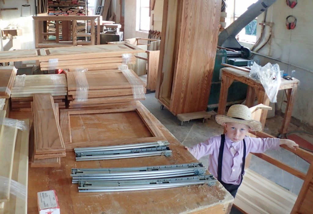 The interior of an Amish cabinet shop