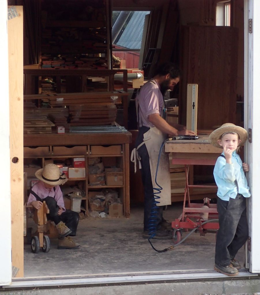 An Amish cabinet makers shop