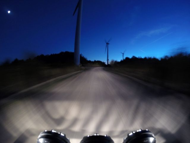The Jeep and windmills in motion