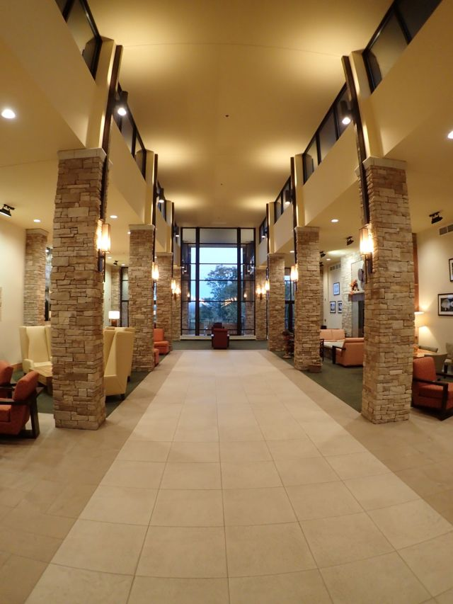 The lobby of the opulent Canaan Valley Resort campground