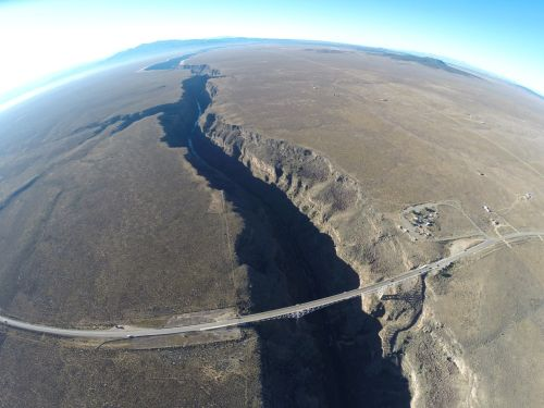 An aerial photo of the Rio Grand Gorge from waaay up
