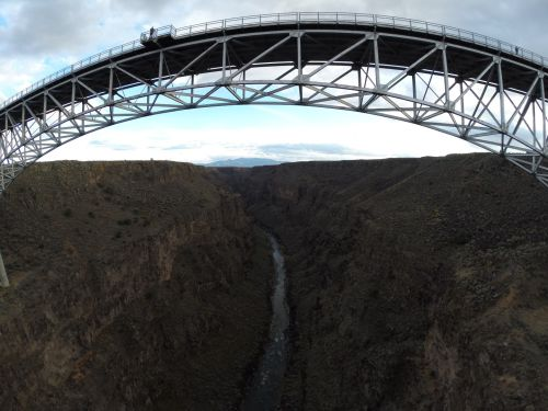 A drone photo from down inside the Rio Grande River Gorge