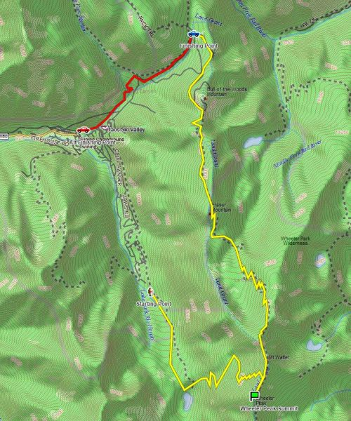 Wheeler Peak Planned Route