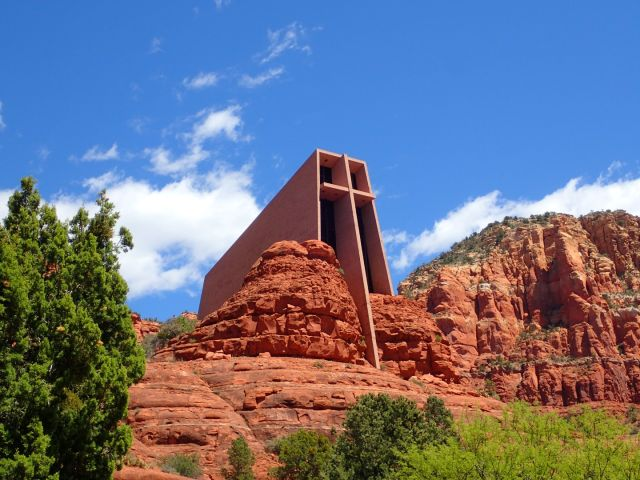 The Chapel of the Holy Cross is a spectacular church built to blend with the surrounding rock.