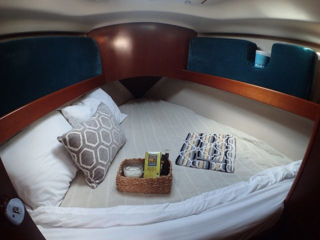 The cozy front berth