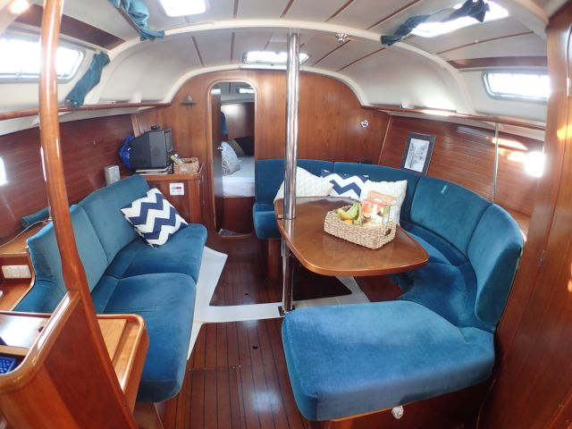 The Beneteau sailboat has a nicely appointed cabin.
