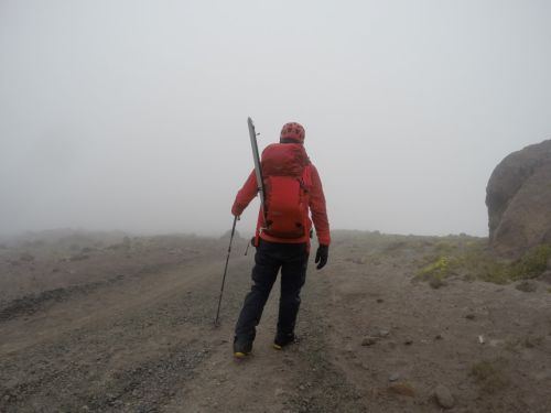 The mountain sent dense fog to keep me company on the final leg of the descent.