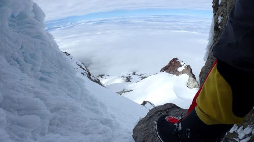A view coming back down the summit chute.