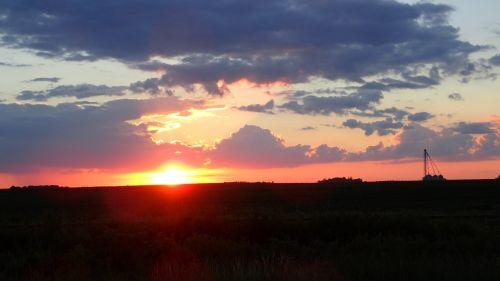An Iowa sunset, across a field of ripe corn.