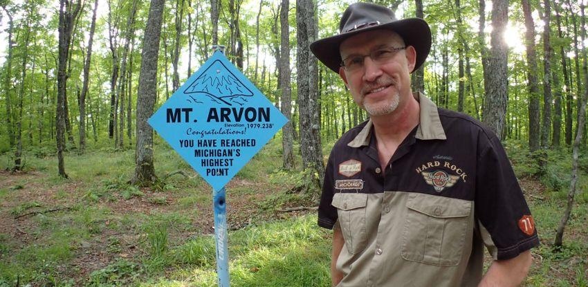Standing on Mount Arvon Summit!