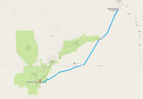 From Carlsbad RV to the Guadalupe Peak Trailhead