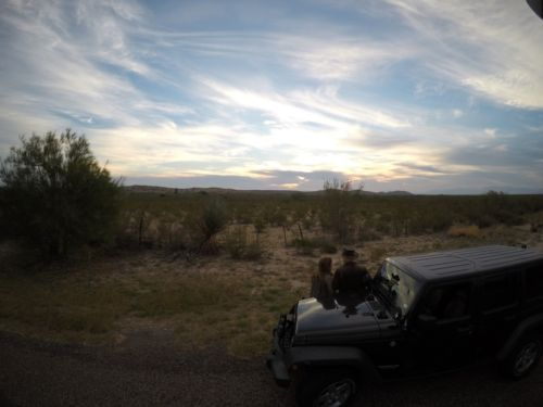 The Byrds watching a sunrise in Big Bend