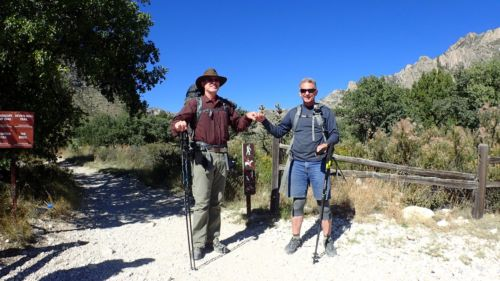 Rick and Danger back at the trailhead, and mission accomplished!