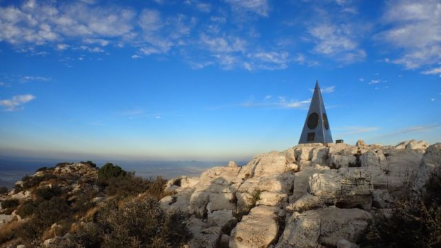 The curious pyramid summit marker, placed there by American Airlines in 1958.