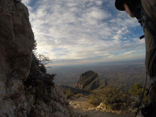 "Danger looking down at ""El Cappitan"" a peak that Rick wanted to climb."