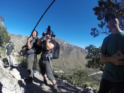 The PBS crew who interviewed Danger on the way down the mountain.