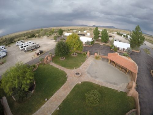 The central courtyard of the Marathon Hotel and RV Park
